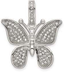 Sterling Silver Polished Swarovski Crystal Butterfly Pendant