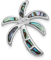Sterling Silver Rhodium-Plated Simulated Abalone Palm Tree Pendant