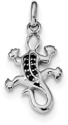 Sterling Silver Rhodium-Plated Polished w/ Black CZ Lizard Pendant