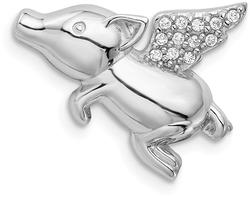 Sterling Silver Rhodium-Plated Polished w/ CZ Flying Pig Slide Pendant