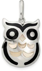 Sterling Silver Mother of Pearl and Black Onyx Owl Pendant