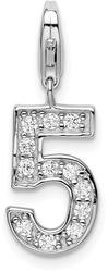 Rhodium-Plated Sterling Silver CZ Numeral 5 w/ Lobster Clasp Charm