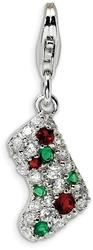 Rhodium-Plated Sterling Silver Multicolor CZ Stocking w/ Lobster Clasp Charm