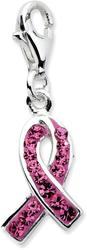 Sterling Silver Click-On Stellux Synthetic Crystal Pink Awareness Charm