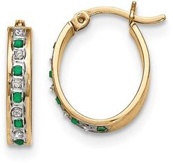 Sterling Silver Diamond Mystique Gold-Plated Diamond/Emerald Oval Hoop Earrings