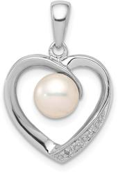 Sterling Silver 6mm Cultured Freshwater Pearl & Diamond Heart Pendant