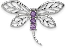 Rhodium-Plated Sterling Silver Amethyst Dragonfly Pendant
