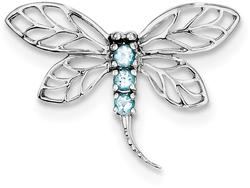 Rhodium-Plated Sterling Silver Light Swiss Blue Topaz Dragonfly Pendant
