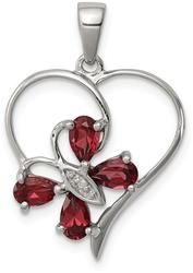 Rhodium-Plated Sterling Silver Garnet & Diamond Butterfly Heart Pendant