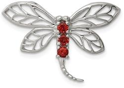 Rhodium-Plated Sterling Silver Garnet Dragonfly Pendant