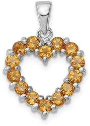 Rhodium-Plated Sterling Silver Citrine Heart Pendant