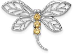 Rhodium-Plated Sterling Silver Citrine Dragonfly Pendant