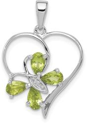 Rhodium-Plated Sterling Silver Peridot & Diamond Butterfly Heart Pendant