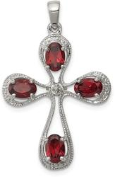 Rhodium-Plated Sterling Silver Garnet & Diamond Cross Pendant QDX908
