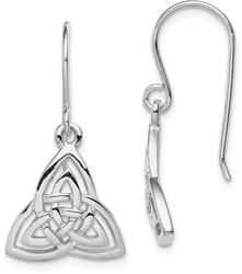 Sterling Silver Polished Celtic Knot Shepherd Hook Earrings QE11975