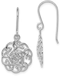 Sterling Silver Rhodium-Plated Polished Celtic Shepherd Hook Earrings QE11979