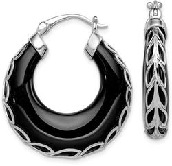 Sterling Silver Rhodium-Plated Shiny-Cut Onyx Hinged Post Earrings