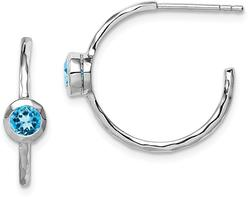 Sterling Silver Rhodium-Plated w/ Blue Topaz Post Hoop Earrings