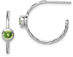 Sterling Silver Rhodium-Plated w/ Peridot Post Hoop Earrings
