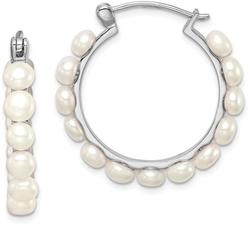 Sterling Silver 4-5mm White Cultured Freshwater Pearl Hoop Earrings