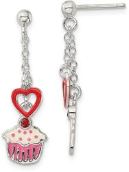Sterling Silver Polished Enamel Garnet Heart & Cupcake Post Earrings