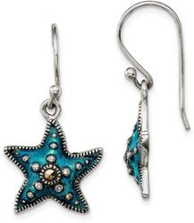 Sterling Silver Antiqued Blue Epoxy & Marcasite Star Dangle Earrings