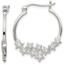 Sterling Silver CZ Star Hoop Earrings