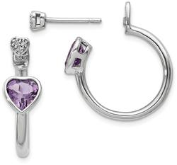 Sterling Silver Diamond & Pink Amethyst Heart Front & Back Post Earrings