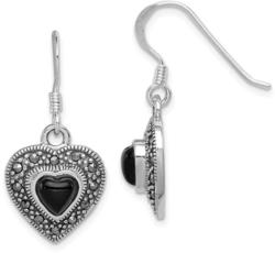 Sterling Silver Black Onyx Heart Marcasite Earrings