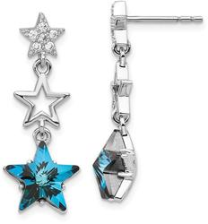 Sterling Silver Clear & Blue Synthetic Crystal Star Dangle Post Earrings