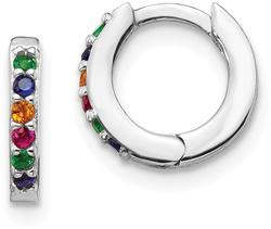 Sterling Silver Rhodium-Plated Colorful CZ Small Hoop Earrings
