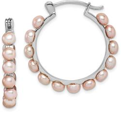 Sterling Silver 4-5mm Pink Cultured Freshwater Pearl Hoop Earrings