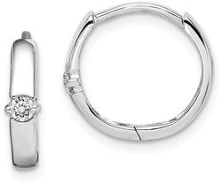 Sterling Silver Rhodium-Plated CZ 3X14mm Hinged Hoop Earrings
