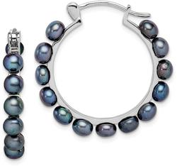 Sterling Silver 4-5mm Black Cultured Freshwater Pearl Hoop Earrings