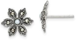 Sterling Silver Antiqued Marcasite & Cultured Freshwater Pearl Flower Earrings