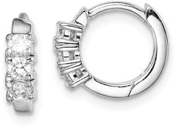 Sterling Silver Rhodium-Plated 3-Stone CZ 2X11mm Hinged Hoop Earrings