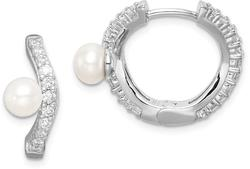 Sterling Silver 5-6mm White Button Cultured Freshwater Pearl CZ Hoop Earrings