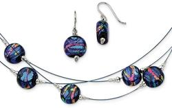 Sterling Silver Blue Dichroic Glass Earrings & 18
