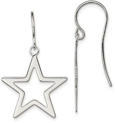 Sterling Silver Polished Star Dangle Earrings
