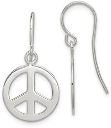 Sterling Silver Polished Peace Sign Dangle Earrings