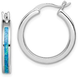 Sterling Silver Lab-Created Blue Opal Inlay Hoop Earrings
