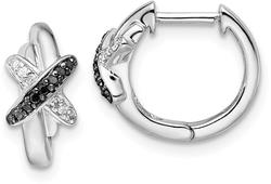 Rhodium-Plated Sterling Silver Black and White Diamond Hoop Earrings