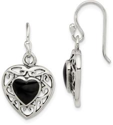 Sterling Silver Black Onyx Heart Shepherd Hook Antiqued Earrings