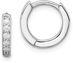 Sterling Silver Rhodium-Plated CZ Hinged Hoop Earrings QE9253