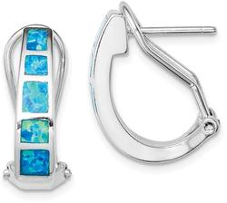 Sterling Silver Blue Inlay Lab-Created Opal Squares Hoop Earrings