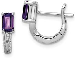 Sterling Silver Rhodium Plated Amethyst Hinged Hoop Earrings