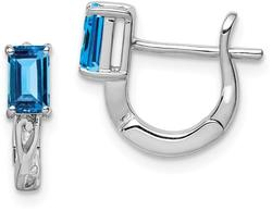 Sterling Silver Rhodium Plated Sky Blue Topaz Hinged Hoop Earrings