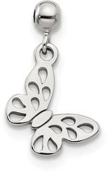 Sterling Silver Mio Memento Dangle Butterfly Bead Slide Charm
