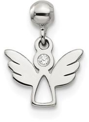 Sterling Silver Mio Memento CZ Dangle Angel Bead Slide Charm