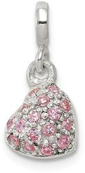 Sterling Silver Pink CZ Puffed Heart Enhancer Bead